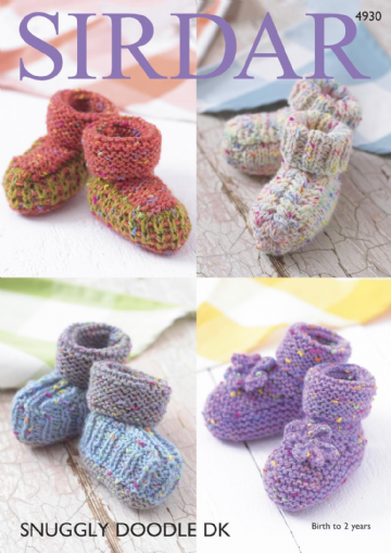 Sirdar  Baby Bootees  in Snuggly Doodle DK , 4930